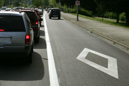 lane lines: Carpool lane on highway, Washington State, USA Stock Photo