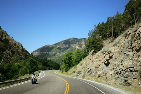 Motorcycle on mountain road Stock Photo - 882737