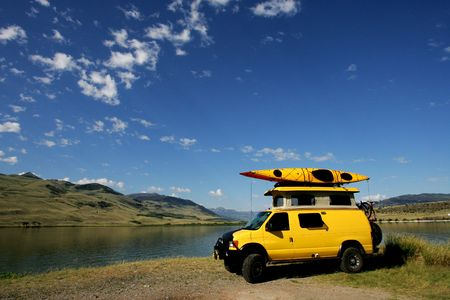 boat house: Camping with yellow 4x4 RV van