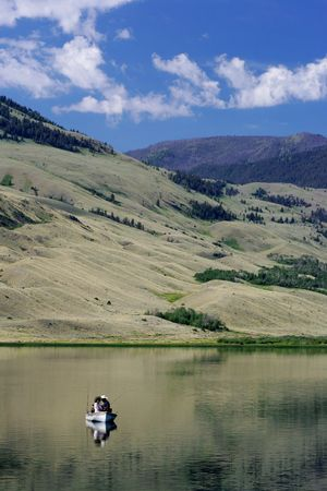 Fishing on lake in Montana photo