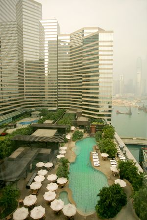 five star: View from five star hotel to Hong Kong waterfront Stock Photo