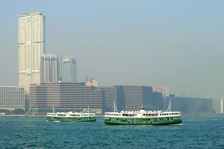 Passenger ferries in Victoria Harbor, Hong Kong, China Stock Photo - 3418113