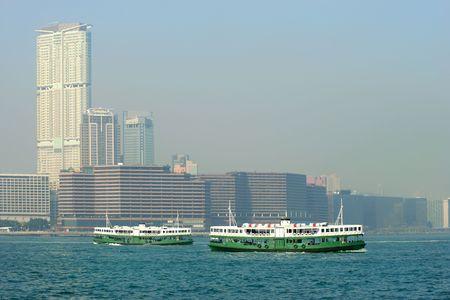 Passenger ferries in Victoria Harbor, Hong Kong, China Stock Photo - 3418113