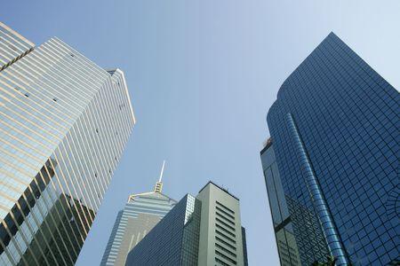glitzy: Skyline of modern office buildings, Hong Kong, China