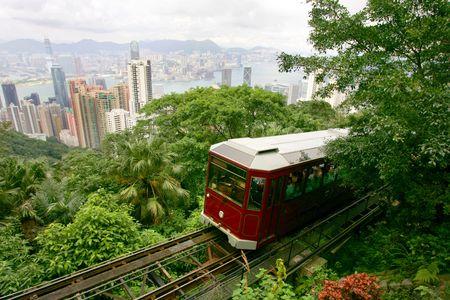 tram: Tourist tram on the Peak, Hong Kong