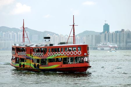 Ferry boat in Victoria Harbor, Hong Kong Stock Photo - 3417986