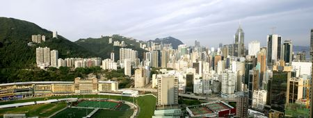 the valleys: Panorama of Happy Valley in early morning, Hong Kong Stock Photo