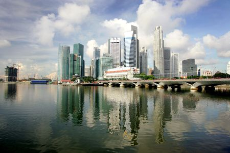 Skyline of modern business district, Singapore Stock Photo
