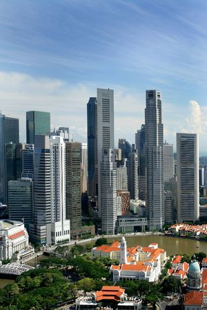 singapore building: Skyline of modern business district, Singapore Stock Photo