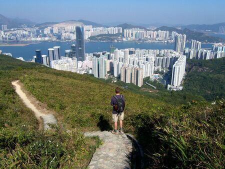 Lone hiker at Jardines Lookout, Hong Kong