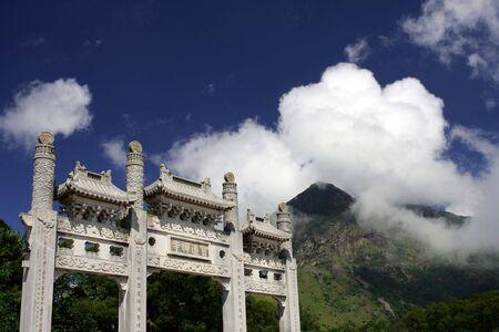 lantau: Porte del Tempio di Lantau Island, Hong Kong Archivio Fotografico