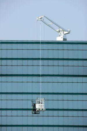 Window washing on modern office building Zdjęcie Seryjne