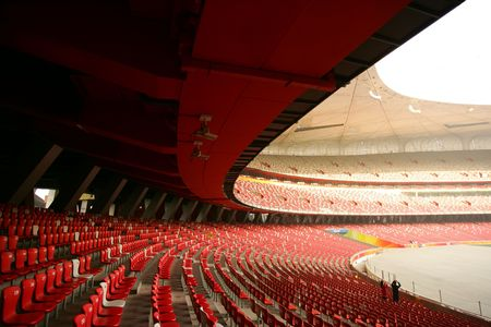 Red seats in China Olympic National Stadium (Birds Nest), Beijing
