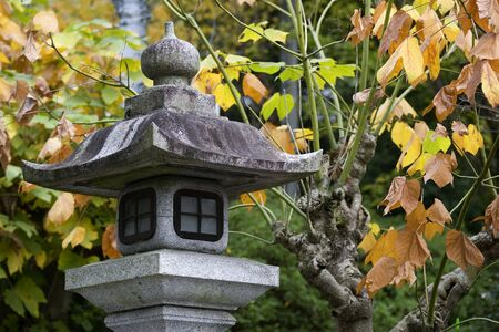 japanese fall foliage: Stone lantern in Japanese Garden in autumn, Kyoto, Japan