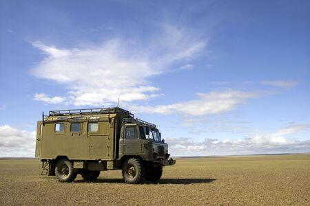 gobi: Old Soviet military truck GAZ-66 in Gobi Desert, Mongolia Stock Photo