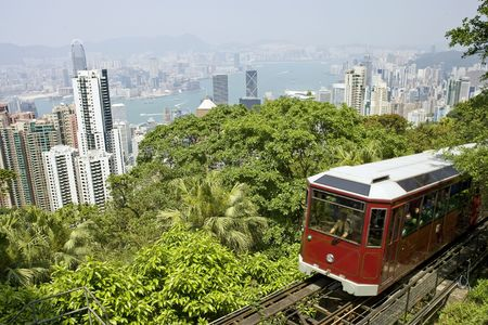 Famous Tram going to the Peak, Hong Kong