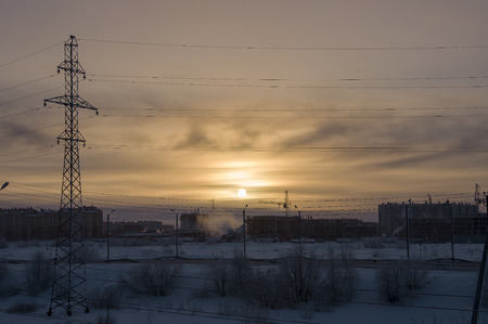 wintriness: Cold winter sunset when the temperature outdoor is - 50 degree by Celsius. North. At the polar circle