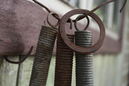 Old iron spare parts with rust on it