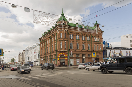 Tomsk, Russia, Lenin Square. July 10, 2017. Central part of the city. Walking streets in summer Editorial