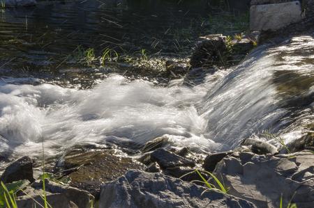Kurgazak, Salavat region, Bashkortostan, Russia. Yangangtau. Mineral spring. Stream. SPA. Curative water. Resort. Waterfalls. Summer