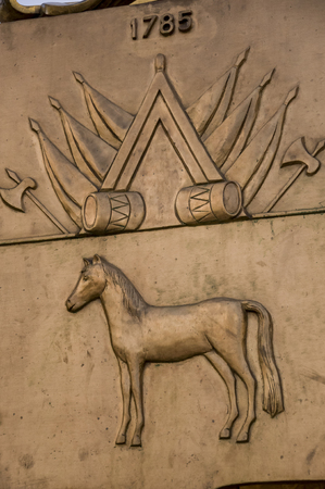 A horse imprinted on a monument