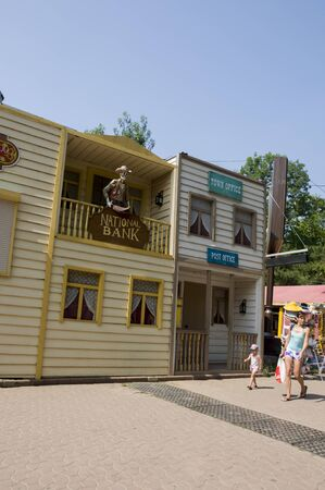 Odessa, South of Ukraine, Seaside boulevard, Cafe Rio Bravo, July 10, 2018. Walking on the city streets in summer. Pirate, National bank