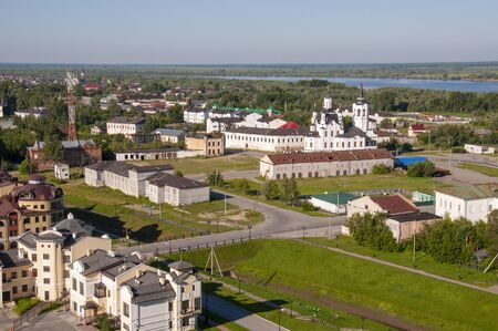 Tobolsk, Tyumen region, Russia, September 09, 2019. View from the Red Square and Tobolsk Historical and Architectural Museum-Reserve on the lower part of town with a lot of beautiful houses
