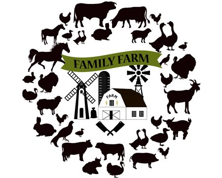 Farming icons and design elements. Farm animals collection. Family farm fresh meat.