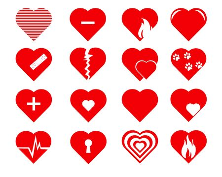 Collection of heart symbol.