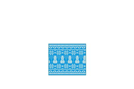 Knit Christmas design with snowmen and snowflakes. Geometric knitted seamless pattern Christmas blue background.  イラスト・ベクター素材