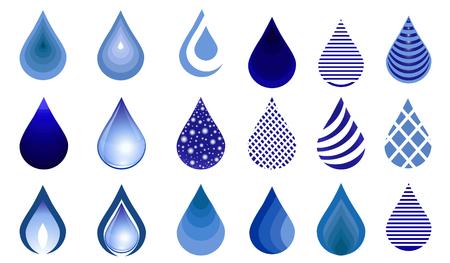 Insieme della goccia di acqua, illustrazione blu dei bottoni di goccia. Emblema goccia d'acqua. modello icona. Archivio Fotografico - 95335724