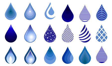 Water drop set, blue drop buttons illustration. Water drop emblem. icon template. Stock Illustratie