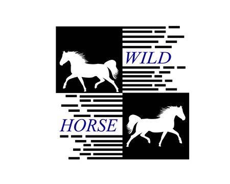 White Horse Runs Gallop. Wild Flaming Stallion Horse.