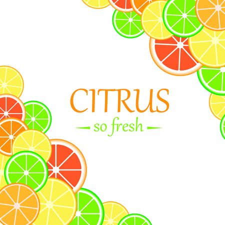 Background with citrus fruits slices. Mix of lemon, lime, grapefruit and orange.