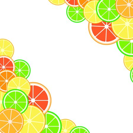 Background with citrus fruits slices. Mix of lemon lime grapefruit and orange.