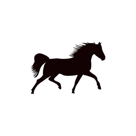 Running horse black silhouette. Vector illustration.