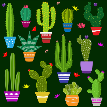 Set of illustrations of cute cactus and succulents in pots and with plants. Can be used for cards, invitations or like sticker. Ilustrace