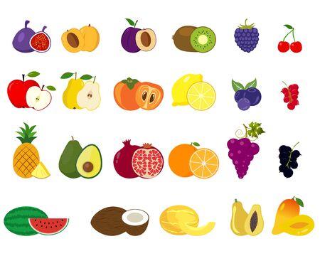 Set of fruits icons Ilustração