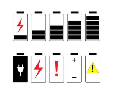 Battery icons set 向量圖像