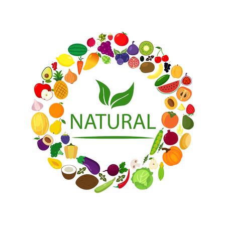 Fruits and vegetables, berries. Organic food icons vector illustration. Ilustração