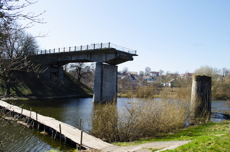 The old bridge destroyed by the fascists on the territory of Poland-Ukraine