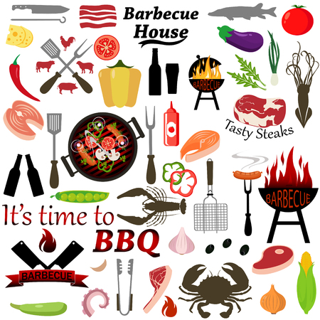 Vector set of barbecue and grilled food steak, sausage, seafood and vegetables.