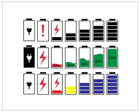 Battery icons set. Battery energy level indicator, isolated on white background