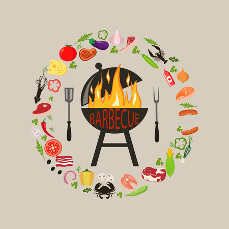 set of barbecue objects. Collection of BBQ cutlery and various meat dishes, vector illustration, icons of barbecue steaks and sausages, vegetables and kebabs, knife and grid. Set of BBQ objects