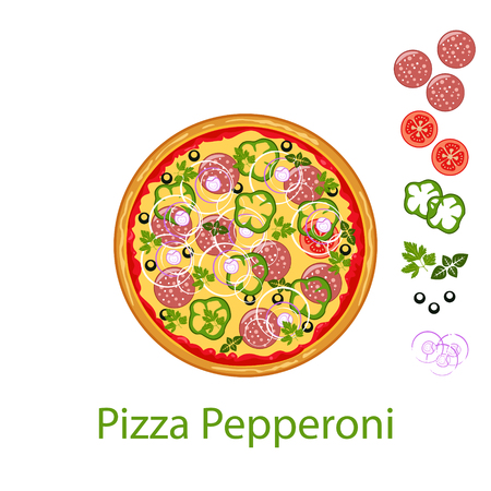 Pizza Pepperoni flat icon isolated on white background. Pizza food silhouette. Food menu illustration isolated. Vector design element