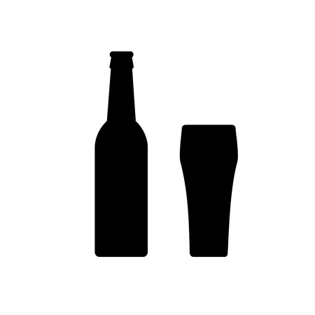 Beer bottle Icon and glass black and white isolated