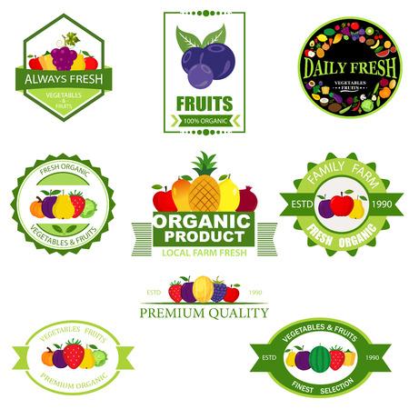 Set of fruit and vegetables logo Illustration