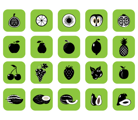 Set of fruits and vegetables. Vector illustration.Black silhouette 일러스트