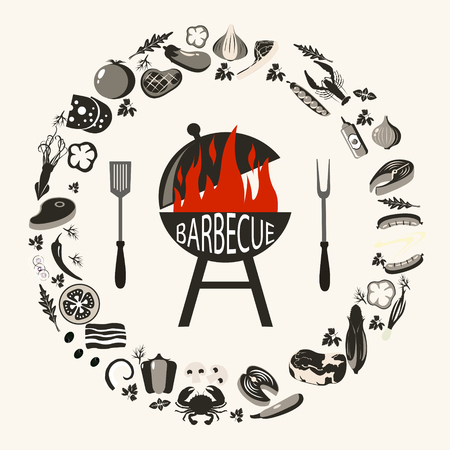 Set of barbecue objects. Collection of BBQ cutlery and various meat dishes, vector illustration, icons of barbecue steaks and sausages, vegetables and kebabs, knife and grid. Set of gray BBQ objects