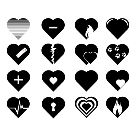 Collection of heart symbol.Vector hearts icons set